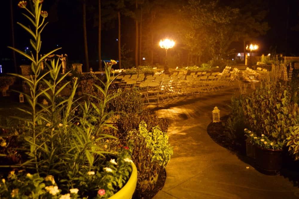 evening outdoor wedding ceremony set up September 1, 2016