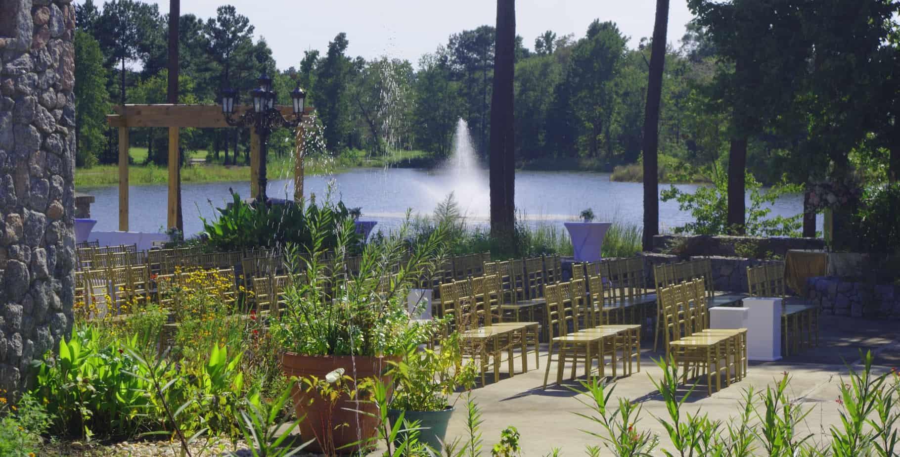 garden wedding ceremony set up