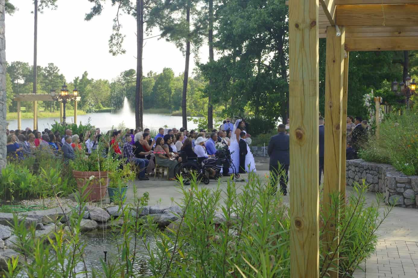 lake side garden wedding ceremony
